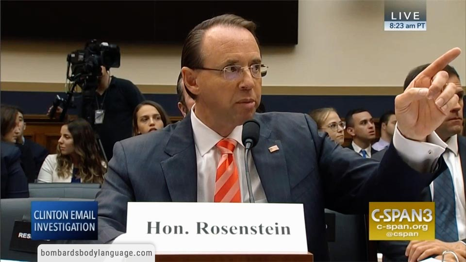 Body Language – Explosive Rod Rosenstein & Christopher Wray Hearing