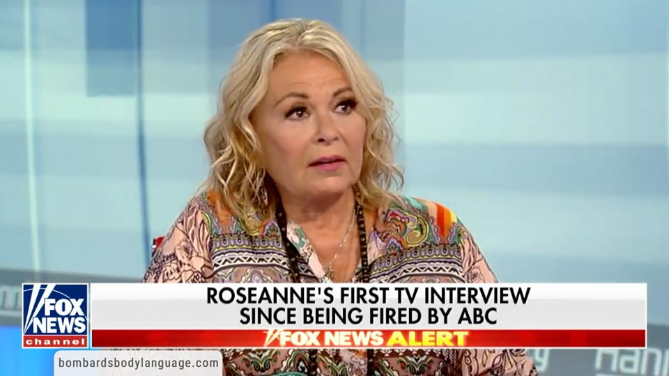Body Language - Roseanne Barr on Hannity Valerie Jarrett tweet