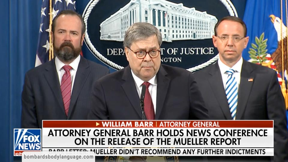 Body Language - Catatonic Rosenstein at William Barr Press Conference