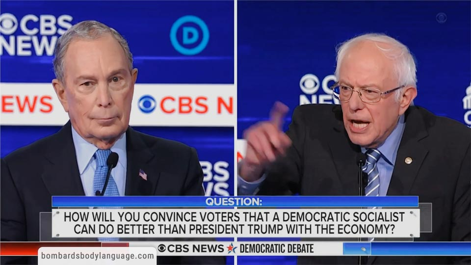Body Language - Mike Bloomberg, Bernie Sanders Debate Performance