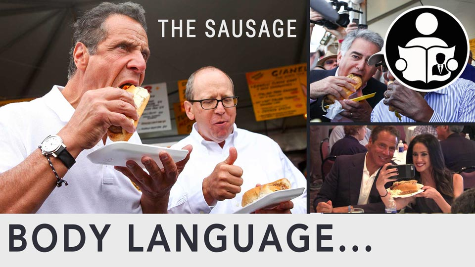 Body Language - Cuomo 'eat the whole sausage' pressured reporter not to waste food